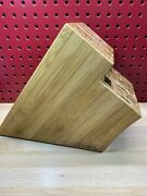 Pampered Chef Knife Block Bamboo Wooden Large 16 Slot No Knives Retired