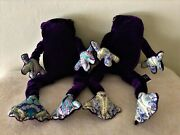 Rare Vintage Liberty Of London Pair Of Purple Frogs Print Fabric Beanie Bag Toy