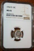 Usa 1954d Roosevelt Silver Dime Ngc Graded Ms 65 Nicely Toned Gem Coin