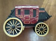 Vintage 1998 Wells Fargo And Co. Wagon Stagecoach Cast Iron Coin Bank Western