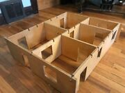 Vintage Playskool Wooden Dollhouse With Full Furniture Set Doll House