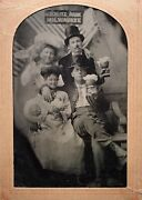 Great 1/6 Plate Tintype - Schlitz Beer Ad - White Fish Bay, Wi. - Faux Beer Mugs