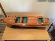 Chris Craft Triple Cockpit Speed Boat Wooden Model 32 Handcrafted
