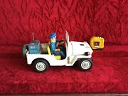 Vintage 60s Tin Toy Battery Operated Jeep Police Patrol Japan Tn No. 3