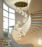 Remote Large Chandelier Living Room Villa Luxury Led Crystal Stairs Light Lamp