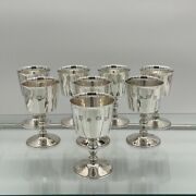 Sterling Silver Suite Eight Wine Goblets Birmingham 1973 Barker Ellis Silver Andco