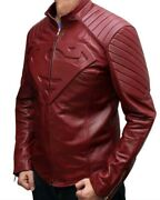 Superman Man Of Steel And Smallville Red Real Sheep Skin Leather Shield Jacket