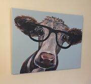 New Country Farmhouse Cow Wearing Glasses Picture Canvas Wall Hanging