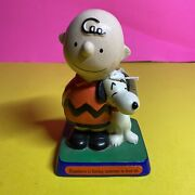 Vintage Peanuts Determined Productions Snoopy And Charlie Brown Statue / Bg
