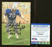 Rayfield Wright Signed Goal Line Art Card Glac Autographed W/hof Cowboys Psa/dna