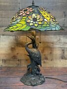"""Ibis Crane Bird Table Lamp Style Stained Glass 24"""" Tall Triple Light"""