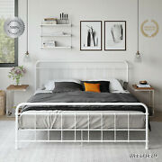 Metal Bed Frame King Farmhouse Iron Vintage Rustic White Modern Country Style Us
