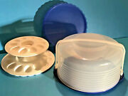 Tupperware Cake Taker W/egg-ceptional Trays And Pie Stackable Insert Navy Blue