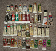 Huge Lot Of 48 Artists Oil Paint Tubes 37ml Winsor And Newton, Winton Grumbacher +