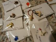 Bread Ties Celluloid Vending Pins Charms Toy Vintage Lot Of 16