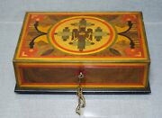 Wwi Kingdom Romania King Carol I Ceremonial Wooden Box Marquetry Coat Of Arms