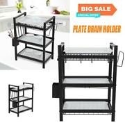 3 Tier Stainless Steel Dish Drainer Storage Rack Drip Tray Plates Cutlery Holder