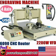 Usb 2.2kw 4 Axis 6090 Router 3d Engraver Mill Drill Carving Machine+controller