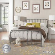 Metal Bed Frame Queen Farmhouse Grey Iron Vintage Rustic Modern Country Style