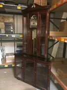 Grandfather Corner Clock In Mahogany Display Case With German Moon Face Movement