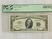 1953 10 Silver Certificate Star Note Fr.1706 Pcgs 58ppq Choice About New