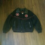 Vintage Midwest Garment Company Mens Xl Wool Jacket Embroidered Black