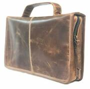 Leather Bible Cover Book Cover Planner Cover With Handle And Back Pocket Dark B