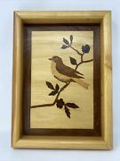 """Marquetry Bird In Tree Inlaid Wood Art By Nelson S Elton 1990's 9"""" X 12"""""""
