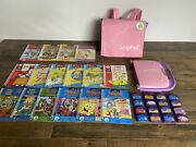 Leappad Learning System Purple Pink Bag Backpack Case 16 Books Cartridges Lot
