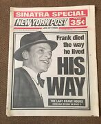 New York Post Newspaper Frank Died The Way He Lived His Way. 5/16/1998 Sinatra