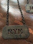 Sterling Silver Liquor Decanter Bottle Tags - Rum And Rye Antique Whiting Co .925