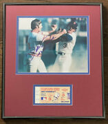 Pete Rose Harrelson Mets Vs Reds 1973 Nlcs Game 3 Ticket And Signed Photo Display