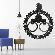 Large Wall Clock Antique 3d Gear Retro Silent Quiet Sweep Home Clocks With Date