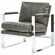 Universal Furniture Corbin Leather Accent Chair In Gray And Silver