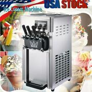 1200w Commercial Soft Ice Cream Machine 3 Flavors For Restaurants Snack Bar Shop