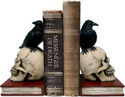 Murder And Mystery - Ravens On Skulls Bookends Gothic Poe Crow Reading Bookshelf