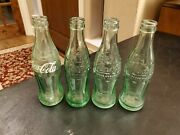 Set Of 4 Old Vintage Green Glass Coca-cola Coke Bottles St Paul Mn Watertown Sd
