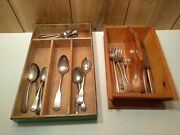 Vintage Wooden Cutlery Trays And 22 Pcs Of Spoons, Forks, Knives Lot Of 24