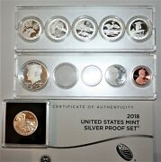 2018 S Us Mint 10 Coin Silver Proof Set In Plastic Holders-coa And No Box