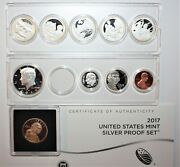 2017 S Us Mint 10 Coin Silver Proof Set In Plastic Holders-coa And No Box