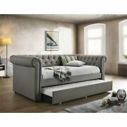 Coaster Kepner Tufted Twin Daybed With Trundle In Gray And Black