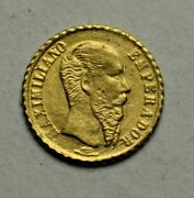 1865 Imperio Mexican Maximilian Small Coin Gold Ozt. 0.0156