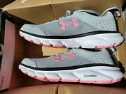 Under Armour Womens Charged Assert 8 Running Shoes Gray And Pink Size 8.5 D Wide