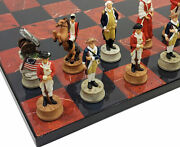 American Revolutionary War Chess Set With 16 Black And Red Board Revolution