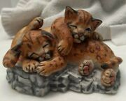 Lenox Ceramic Statue Figurine Nature's Young Played Out Cuddled Tiger Cubs