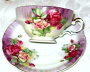 Ucagco China Japan Cup And Saucer Red Peach Roses H Painted Purple Teacup