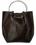 The Row Micro Flat Circle Leather Bucket Bag Womenand039s Brown