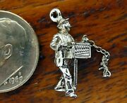 Vintages Silver Organ Grinder Music Box Monkey On Chain Movable Charm Rare