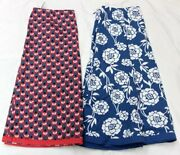 Lot Of 2 Boden Womens Sz 6 Floral Print 100 Cotton Lined A Line Skirts Blue Red