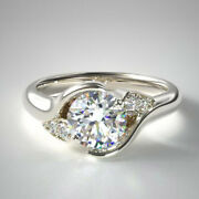 0.92 Carat Round Real Diamond Trilogy Ring For Her 14k White Gold Size 5 6 7 8.5